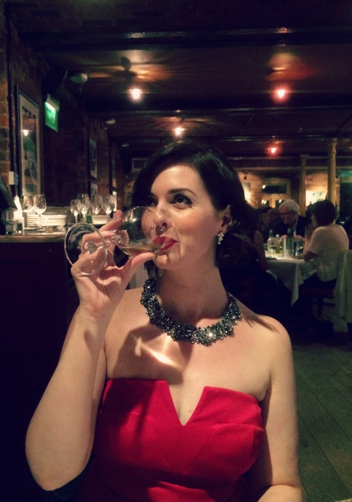 red dress wine