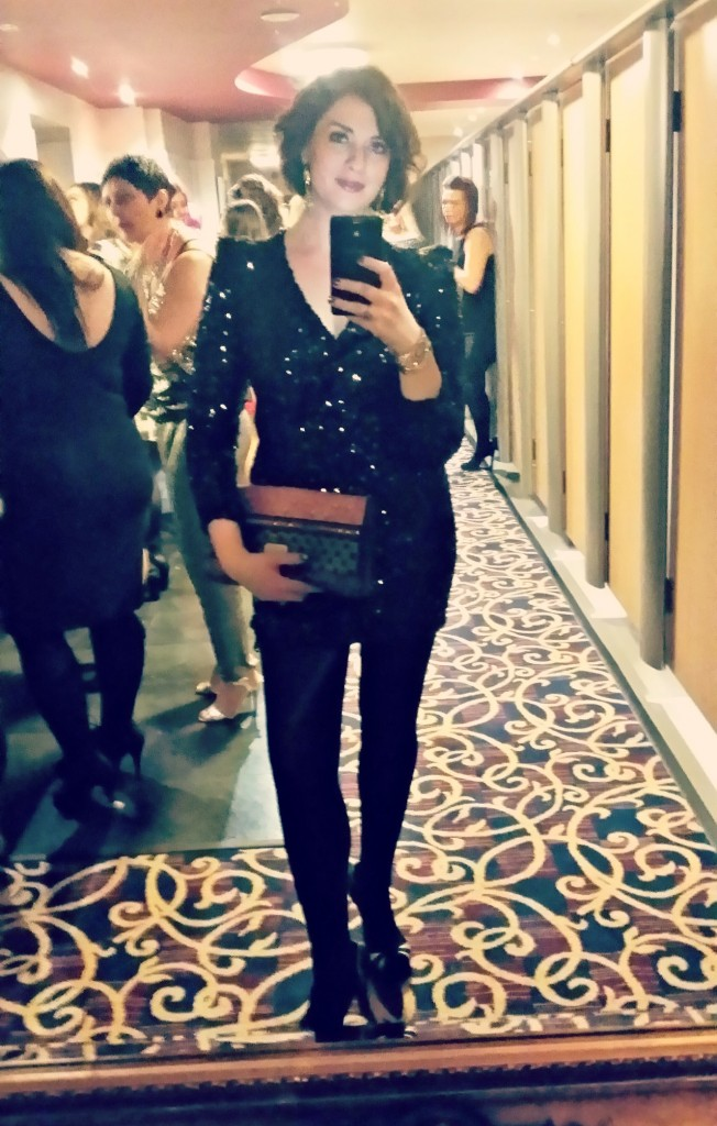 A bit blurry but here's a full outfit shot. (And yep, I wore a hell of a lot of sequins!)