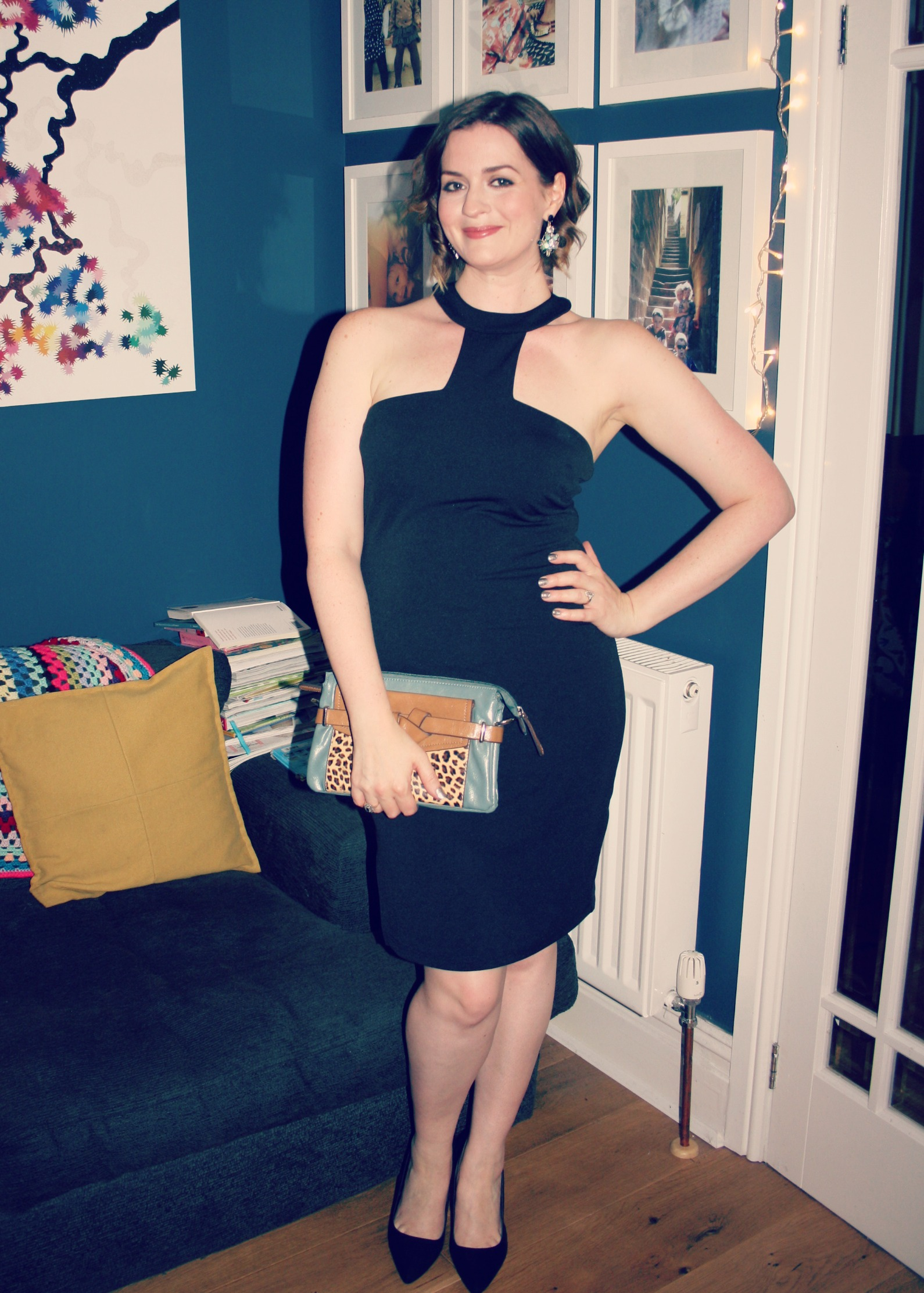 black dress and bag